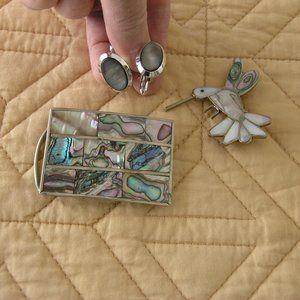 Abalone Inlaid Belt Buckle, Brooch, Cufflinks